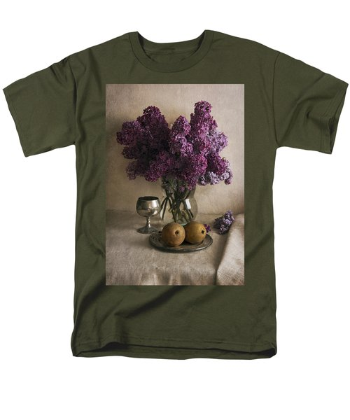 Men's T-Shirt  (Regular Fit) featuring the photograph Still Life With Pears And Fresh Lilac by Jaroslaw Blaminsky