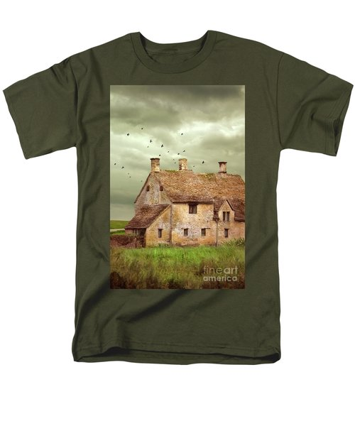 Stone Cottage And Stormy Sky Men's T-Shirt  (Regular Fit) by Jill Battaglia