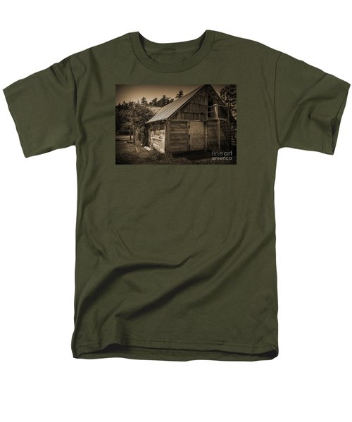 Men's T-Shirt  (Regular Fit) featuring the photograph Storage Shed In Sepia by Kirt Tisdale