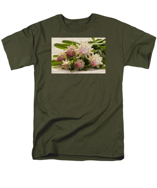 Straw Flowers And Lace Men's T-Shirt  (Regular Fit) by Sandra Foster