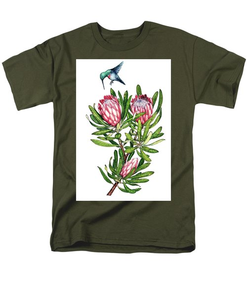 Men's T-Shirt  (Regular Fit) featuring the painting Sugarbush And The Humming Bird by Heidi Kriel