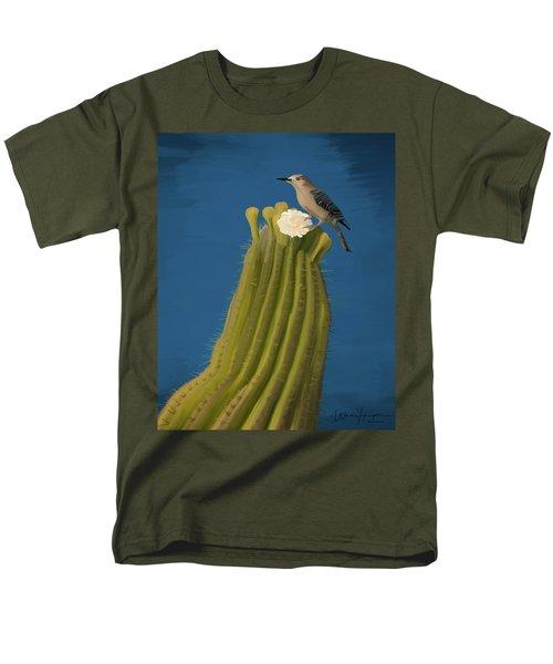 Sugaro Cactus And Cactus Wren Men's T-Shirt  (Regular Fit) by Wally Hampton