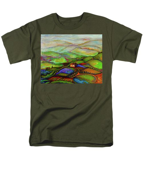 Men's T-Shirt  (Regular Fit) featuring the painting Summer Hills by Rae Chichilnitsky