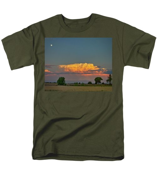 Men's T-Shirt  (Regular Fit) featuring the photograph Summer Night Storms Brewing And Moon Above by James BO Insogna