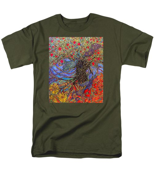Men's T-Shirt  (Regular Fit) featuring the painting Enchanted Garden by Rae Chichilnitsky