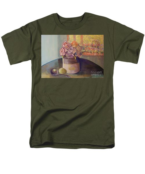 Men's T-Shirt  (Regular Fit) featuring the painting Sunday Morning Roses Through The Looking Glass by Marlene Book