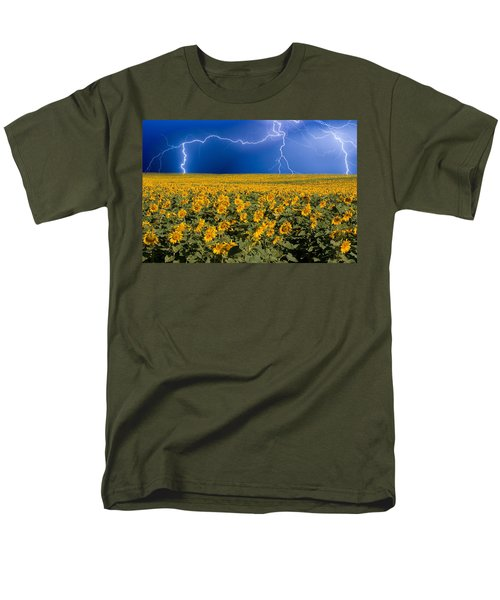 Men's T-Shirt  (Regular Fit) featuring the photograph Sunflower Lightning Field  by James BO  Insogna