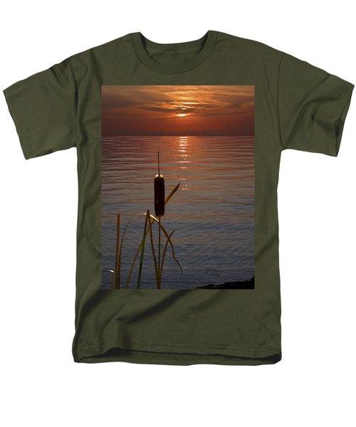 Sunset Cattail Men's T-Shirt  (Regular Fit) by Judy Johnson