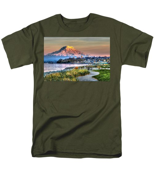 Sunset On Mt Rainier And Point Ruston Men's T-Shirt  (Regular Fit) by Rob Green
