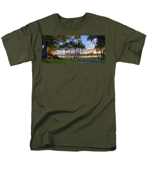 Sunset Over Downtown West Palm Beach From Palm Beach Island Men's T-Shirt  (Regular Fit) by Justin Kelefas