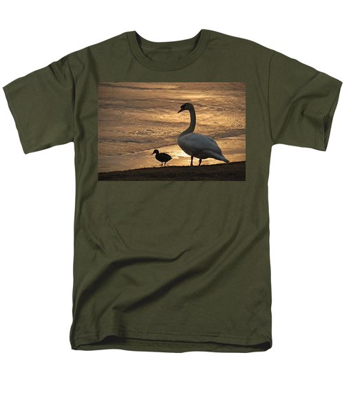 Men's T-Shirt  (Regular Fit) featuring the photograph Swan And Baby At Sunset by Richard Bryce and Family