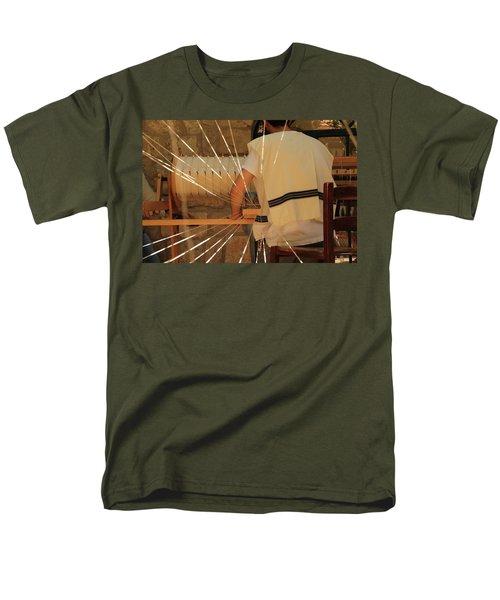 Men's T-Shirt  (Regular Fit) featuring the photograph Jewish Prayer Shawl Weaving In Tzfat by Yoel Koskas
