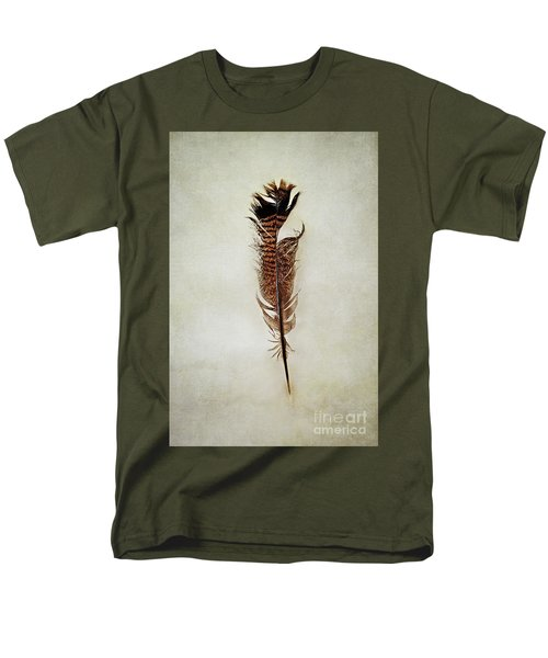 Men's T-Shirt  (Regular Fit) featuring the photograph Tattered Turkey Feather by Stephanie Frey