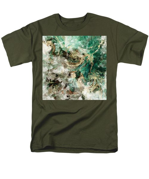 Men's T-Shirt  (Regular Fit) featuring the painting Teal And Cream Abstract Painting by Ayse Deniz