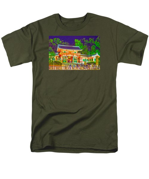 Men's T-Shirt  (Regular Fit) featuring the painting Temple In Kyoto by Pravine Chester