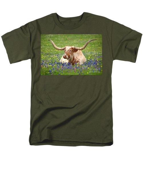 Texas Longhorn In Bluebonnets Men's T-Shirt  (Regular Fit) by Jon Holiday