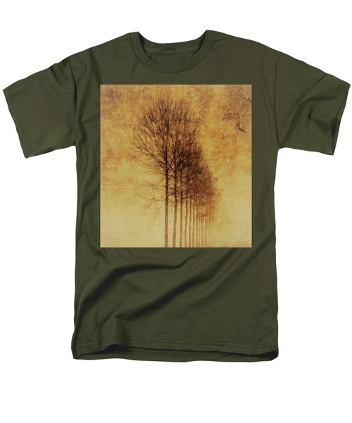 Men's T-Shirt  (Regular Fit) featuring the mixed media Textured Eerie Trees by Dan Sproul