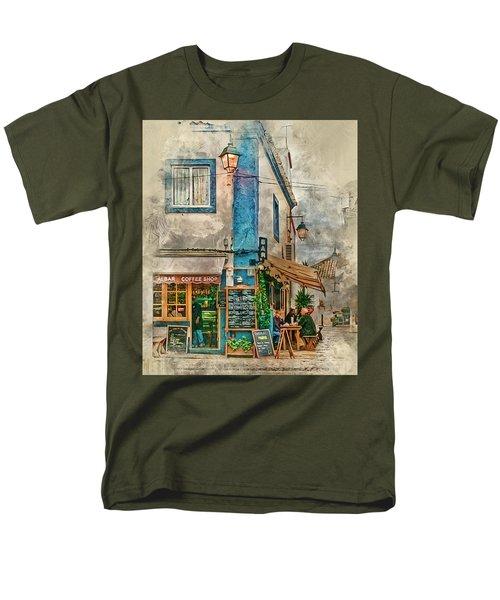 The Albar Coffee Shop In Alvor. Men's T-Shirt  (Regular Fit) by Brian Tarr