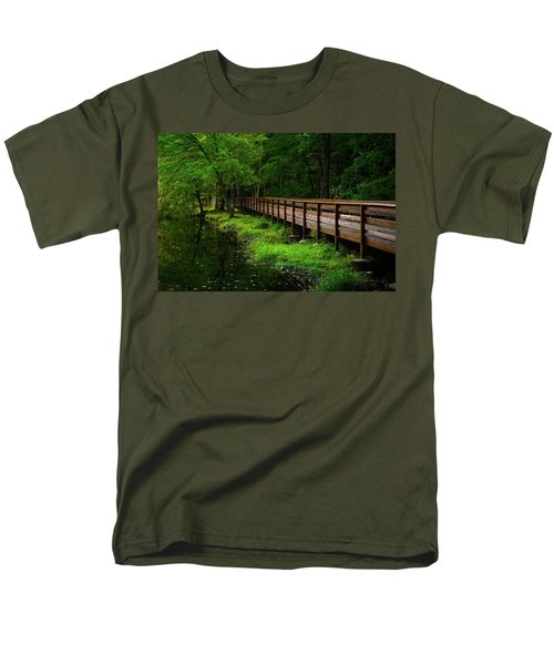 Men's T-Shirt  (Regular Fit) featuring the photograph The Bridge At Wolfe Park by Karol Livote