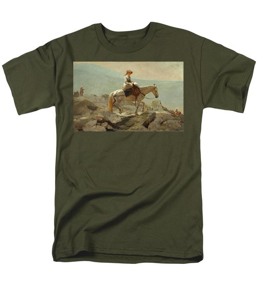 Men's T-Shirt  (Regular Fit) featuring the painting The Bridle Path, White Mountains - 1868 by Winslow Homer