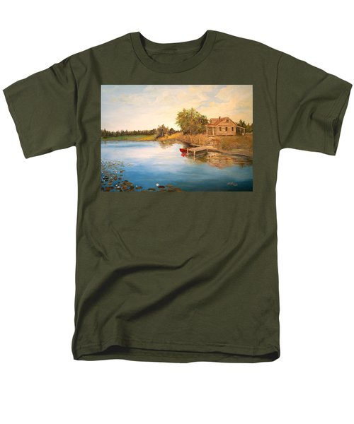 Men's T-Shirt  (Regular Fit) featuring the painting The Cabin by Alan Lakin