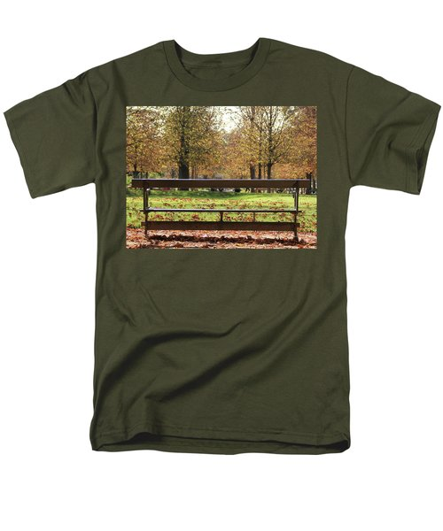Men's T-Shirt  (Regular Fit) featuring the photograph The French Bench And The Autumn by Yoel Koskas