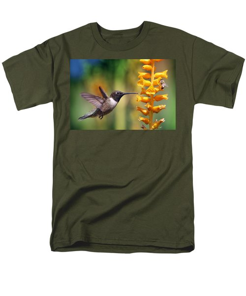 Men's T-Shirt  (Regular Fit) featuring the photograph The Hummingbird And The Bee by William Lee
