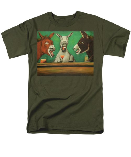 Men's T-Shirt  (Regular Fit) featuring the painting The Laughing Donkeys by Leah Saulnier The Painting Maniac