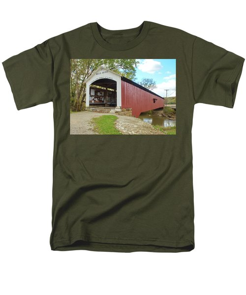 Men's T-Shirt  (Regular Fit) featuring the photograph The Mecca Covered Bridge by Harold Rau
