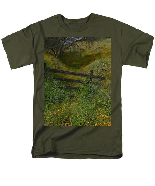 Men's T-Shirt  (Regular Fit) featuring the photograph The Old Wooden Fence by Debby Pueschel