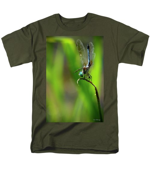 Men's T-Shirt  (Regular Fit) featuring the photograph The Performer Dragonfly Art by Reid Callaway