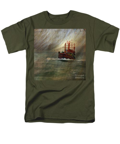 Men's T-Shirt  (Regular Fit) featuring the photograph The Red Fishing Boat by LemonArt Photography