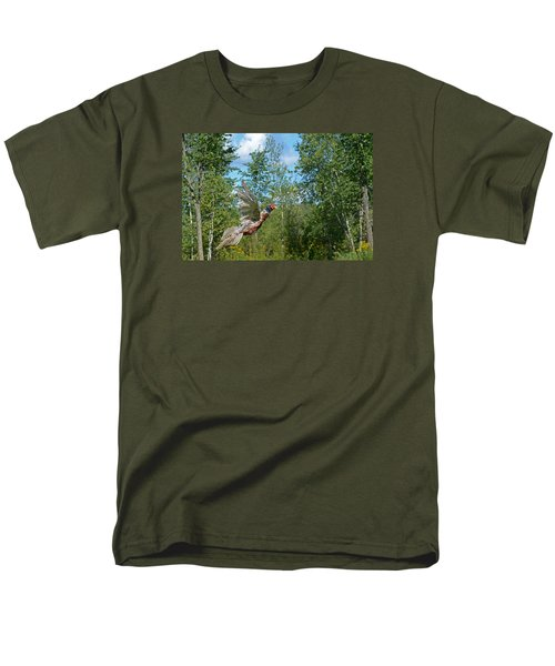 The Ring-necked Pheasant In Take-off Flight Men's T-Shirt  (Regular Fit) by Asbed Iskedjian