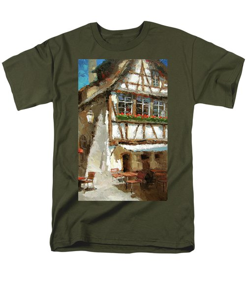 Men's T-Shirt  (Regular Fit) featuring the painting The Streets Of Strasbourg by Dmitry Spiros