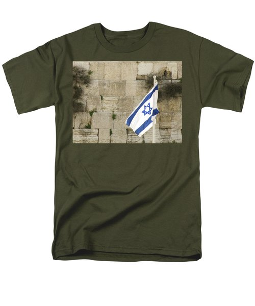 Men's T-Shirt  (Regular Fit) featuring the photograph The Wailing Wall And The Flag by Yoel Koskas