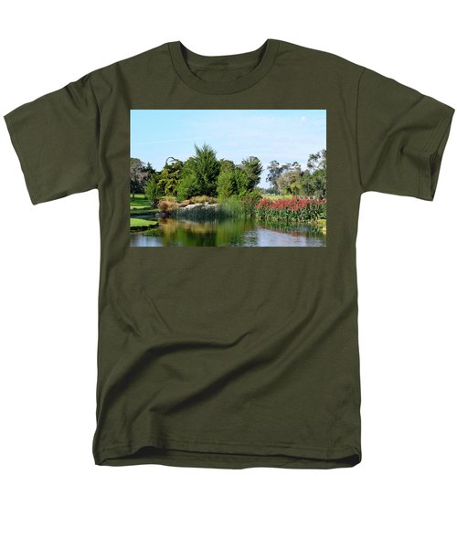 Men's T-Shirt  (Regular Fit) featuring the photograph The Water On Number One Santa Maria Country Club by Barbara Snyder