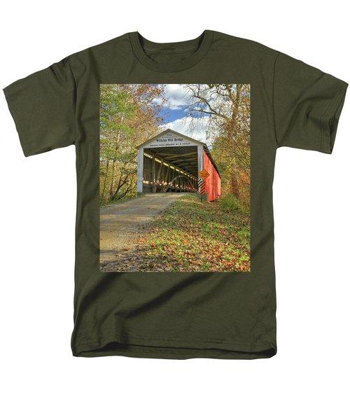 The Wilkins Mill Covered Bridge Men's T-Shirt  (Regular Fit) by Harold Rau