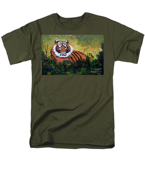 Men's T-Shirt  (Regular Fit) featuring the painting Tiger At Rest by Myrna Walsh