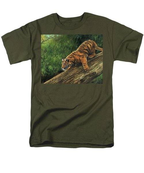 Men's T-Shirt  (Regular Fit) featuring the painting Tiger Descending Tree by David Stribbling