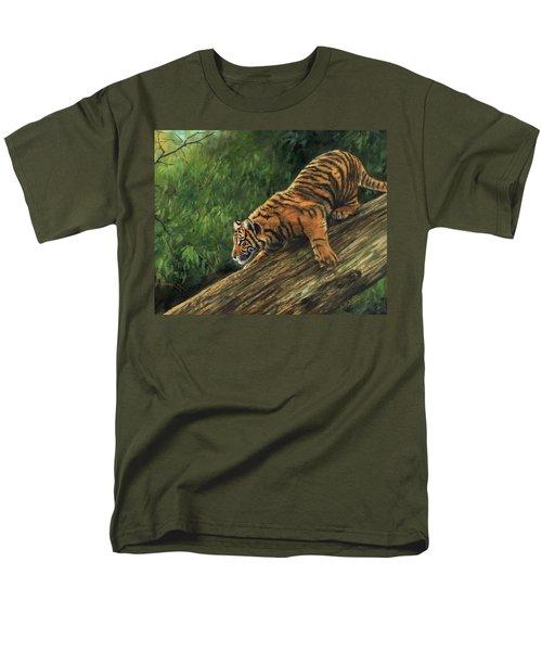 Tiger Descending Tree Men's T-Shirt  (Regular Fit) by David Stribbling
