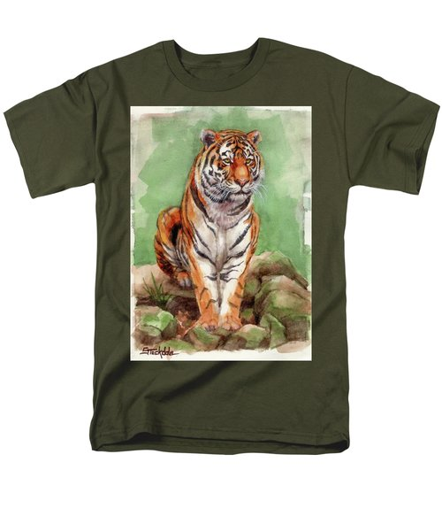 Men's T-Shirt  (Regular Fit) featuring the painting Tiger Watercolor Sketch by Margaret Stockdale