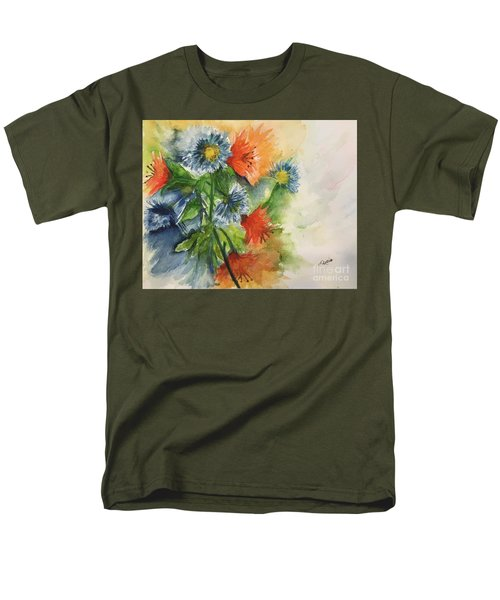 Tigerlilies And Cornflowers Men's T-Shirt  (Regular Fit) by Lucia Grilletto