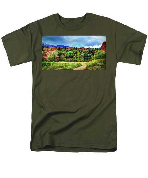 Men's T-Shirt  (Regular Fit) featuring the photograph Trails Of Red Rock Canyon by Deborah Klubertanz