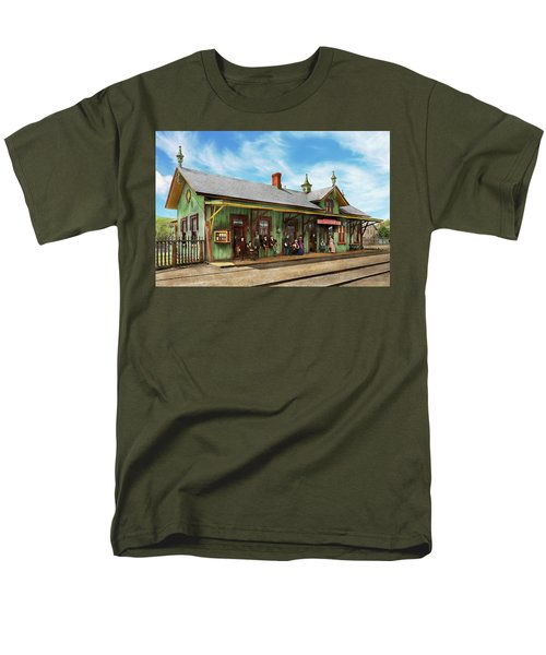 Train Station - Garrison Train Station 1880 Men's T-Shirt  (Regular Fit) by Mike Savad
