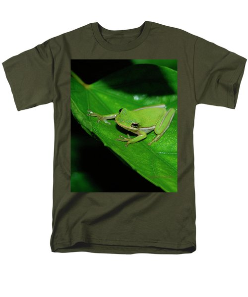 Tree Frog On Hibiscus Leaf Men's T-Shirt  (Regular Fit) by DigiArt Diaries by Vicky B Fuller