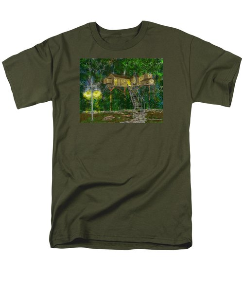 Men's T-Shirt  (Regular Fit) featuring the drawing Tree House #10 by Jim Hubbard
