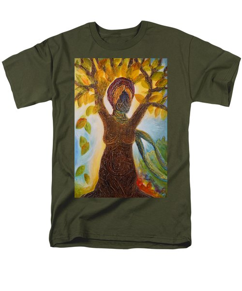 Tree Woman Men's T-Shirt  (Regular Fit) by Theresa Marie Johnson