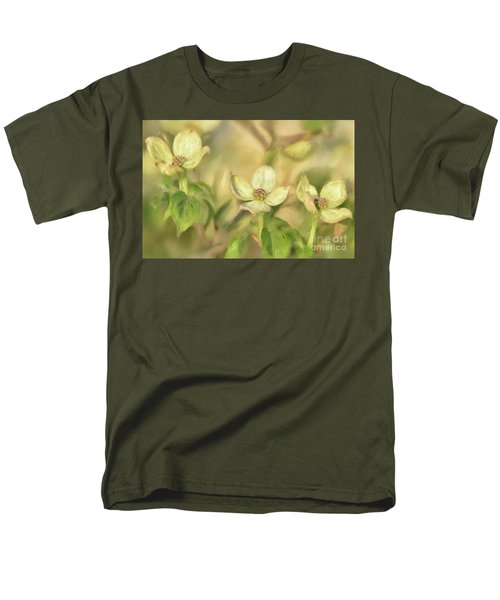 Men's T-Shirt  (Regular Fit) featuring the digital art Triple Dogwood Blossoms In Evening Light by Lois Bryan