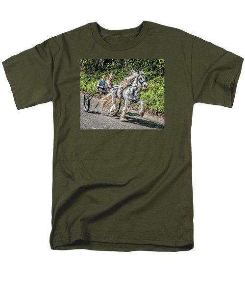 Men's T-Shirt  (Regular Fit) featuring the photograph Trotting At Appleby Horse Fair by Brian Tarr