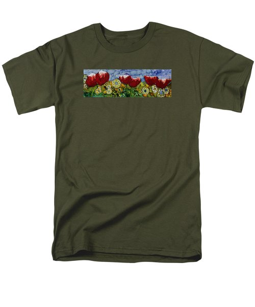 Men's T-Shirt  (Regular Fit) featuring the painting Tulip Bonanza by Suzanne Canner
